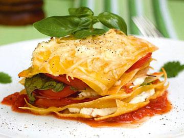 Receta de lasaña de tomate, jamón y ricotta