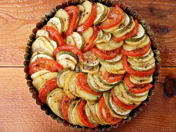 Receta de tian de tomate, calabaza y berenjena